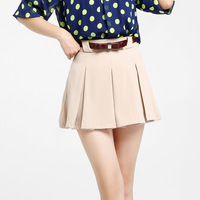 2013 summer loose patchwork female shorts belt female pleated skirt pants shorts 0417