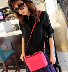 2013 women's handbag candy color block bag vintage messenger bag bottle bag(China (Mainland))