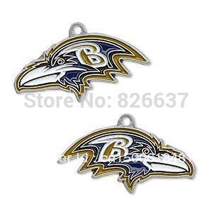 Free shipping 10pcs a lot enamel sport Baltimore Ravens football team logo charms