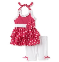 On Sale red polka dot layer flower dress and shorts 2piece girl set baby summer suits toddler clothing 2013 5sets/lot