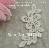 Free Shipping 50pcs 7.5x3.5cm(LCS03B)White Embroidery Flower Applique Wedding Accessories Bridal Veil Lace