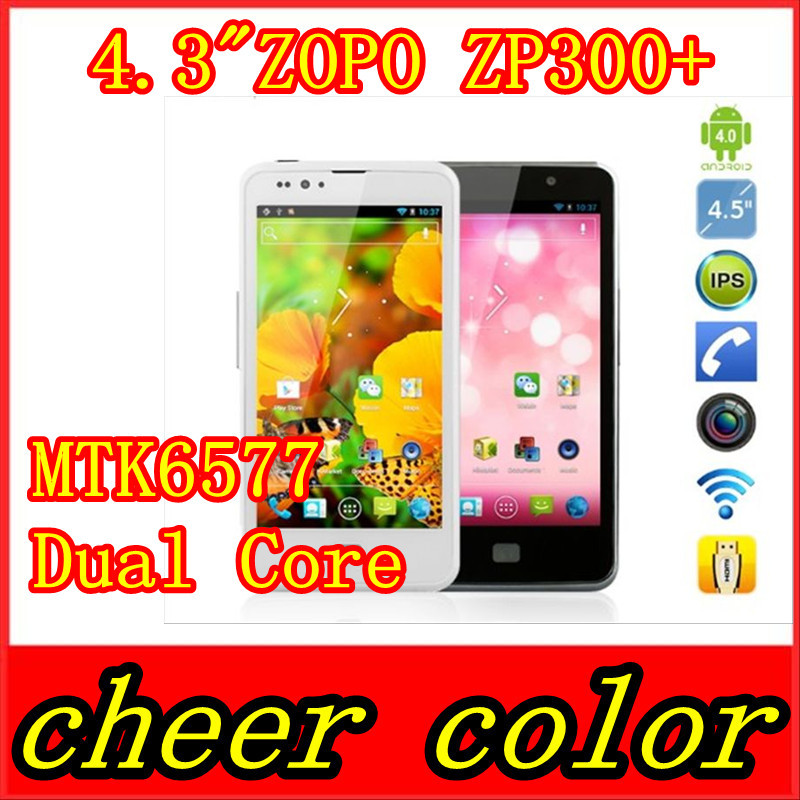 "In stock original! ZOPO ZP300+ 1280*720 Resolution 4.5"" MTK6577 Dual Core android 4.0 phone(China (Mainland))"