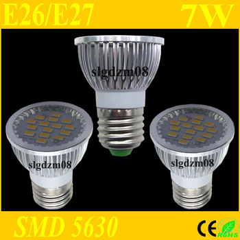 LED Spotlight SMD 5630 E26/E27 7W 120 Degree Spot light Lamp Bulb Chandelier Ceilinglight Homelighting High Brightness 2Pcs