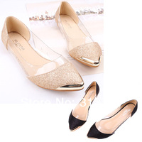 Drop Shipping Womens Glitter Sparkle Loafers Metal Pointed Toe Transparent Low Heel Flat Shoes XZY0071 Free Shipping