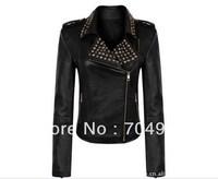 Free Shipping New Popular Women Motorcycle Rock Punk Rivets Studded PU Leather Blazer Zipper Jacket Coat Black S M L XLXXL 3XL
