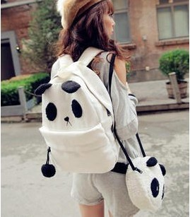 Women's handbag backpack bag student school bag canvas backpack plush bag(China (Mainland))