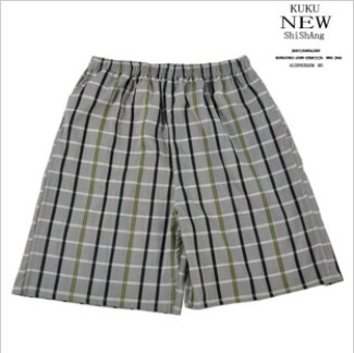 2013 100% cotton small square grid male beach shorts, casual shorts knee-length summer free shipping(China (Mainland))