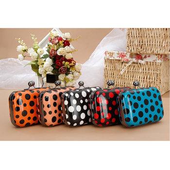 Trend 2013 sweet polka dot bag clip box chain women's handbag 8228