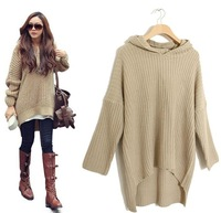 Popular Korean Womens Loose Long Sleeve Irregular Hem Hooded Sweater Fashion Outerwear Knitting Coat With Hat Khaki Black