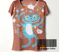 Track Ship+New Vintage Retro Cool Rock&Roll Punk T-shirt Top Tee Most Happy Thing is Around with Fishes Fish Cat