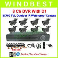 Freeshipping OV139 700 TVL 8Ch H.264 D1 DVR Kit  8pcs Waterproof IR Cameras 8Ch Security Surveillance Video CCTV Camera System