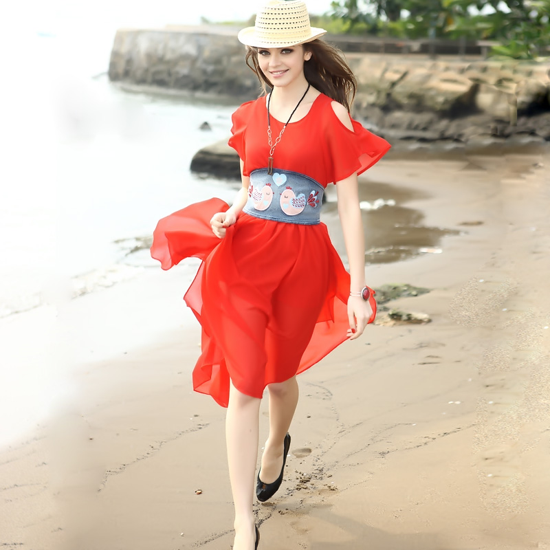 Elegant women's 2013 women's fashion red strapless chiffon one-piece dress(China (Mainland))