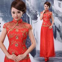 Fashion lace the bride married cheongsam dress cheongsam formal dress long design red evening dress 752