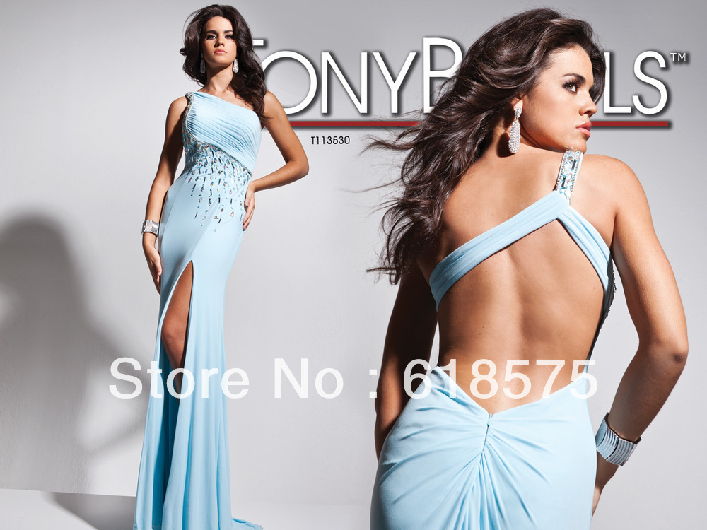 Light Sky Blue Party Dress One Shoulder Backless Ruched Side Slit Tony Bowls Prom Dress 113530(China (Mainland))