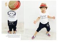 retail 2013 new Kids set summer wear Short sleeve set Children clothing suit pure cotton Smiling face t shirt+pants