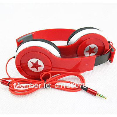3.5mm Foldable Wired Headphone Headset Earphone Earbuds Stereo Fold For PC MP3 MP4 iPhone Red(China (Mainland))