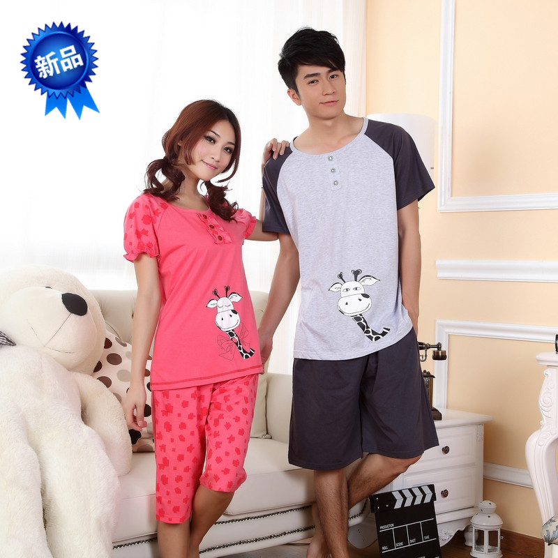 2013 spring cartoon animal one piece cow short-sleeve lovers sleepwear female lounge(China (Mainland))