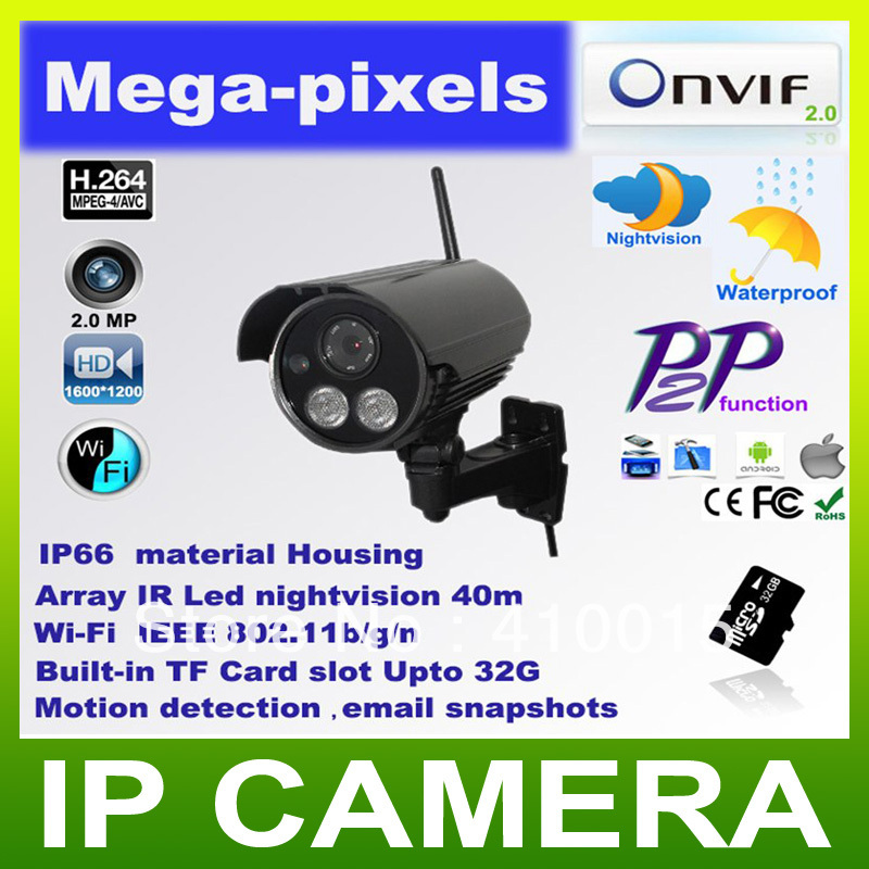 ONVIF 2.0 H.264 P2P 2.0 Megapixel Wireless IP Camera Array IR LED Nightvision Support HD 720P Vandalproof with Motion Detection(China (Mainland))