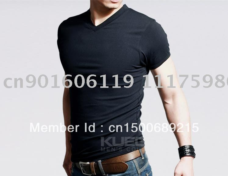 2011 new spring high-elastic lycra cotton men's short sleeve v neck tight t shirt free China post shipping(China (Mainland))