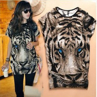 New arrivel 2013 summer women's fashion Tiger Printed T-shirt Long Tops,short-sleeve Popular T shirt Animal Pattern
