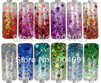 2014 NEW Glitter Nail Powder 12 pots per set, 12color Glitter Acrylic Powder Dust For Nail Art Tips+Freeship