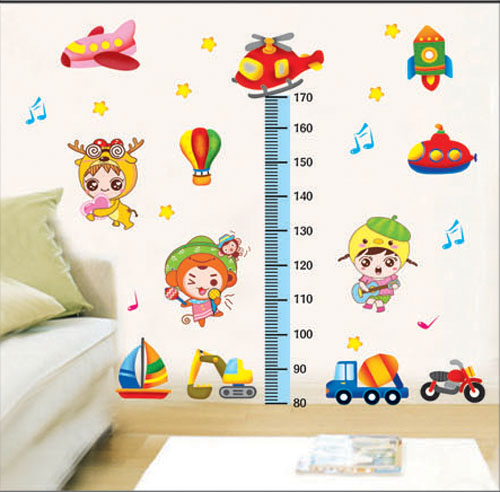 Free shipping Three generations of real child cartoon car wall stickers height stickers height wallpaper(China (Mainland))