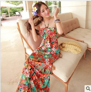 2013 Summer New Bohemian Floral Halter Bra Mopping Thin Halter Beach Dress(China (Mainland))