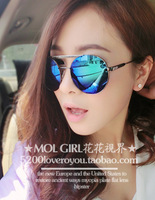 T9 2013mol fashion cool male sunglasses reflective women's big black circular frame metal sunglasses fashion glasses