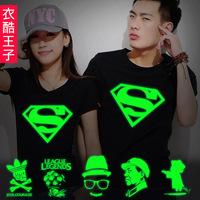 2013 spring luminous super man lovers t-shirt summer short-sleeve women's