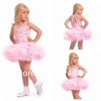 2013 New Style Halter Neck Sleeveless Beaded Mini Organza beauty pageant dresses for little girls G0105