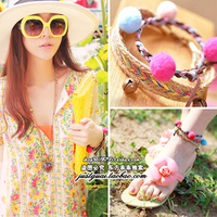 Y chain asuka . millenum color block cute multi-colored ball bell national trend bracelet anklets