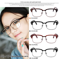 Rubric vintage metal box black rivet plain glass spectacles plain mirror myopia eyeglasses frame