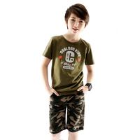 Children's clothing child summer male short-sleeve 2013 child set cotton camouflage 100% child set