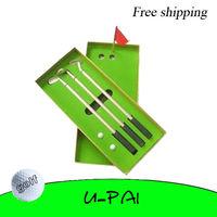 Free Shipping! Pro Aluminum Alloy Ballpoint Pens Golf Flag Balls Scoring Driver Set Gift Box