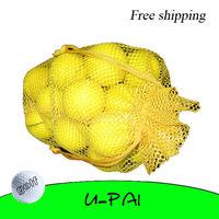 Free Shipping! 2pcs+Nylon Mesh Nets Pouch Golf Table Tennis Ball Bag Holder 30 Balls Hold Yellow