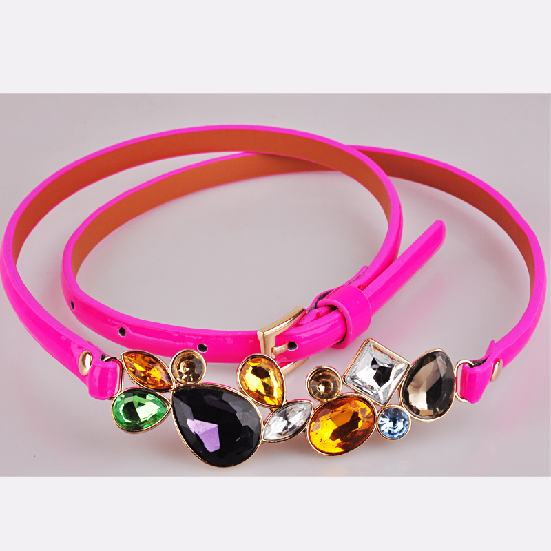 Fashion neon candy color luxury rhinestone gem small belt strap female(China (Mainland))