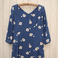 03 - 916 little daisy fresh blue chiffon one-piece dress skirt wave