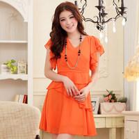 2013 summer V-neck slim waist ruffled pleated sleeve chiffon plus size mm 9209 one-piece dress