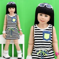 2013 baby summer children's clothing summer female child stripe child racerback tank dress one-piece dress