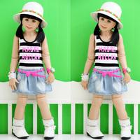 2013 baby summer children's clothing female child stripe letter child thin soft denim vest one-piece dress