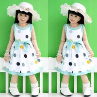 2013 baby summer children's clothing summer female child polka dot child pure cotton vest princess one-piece dress