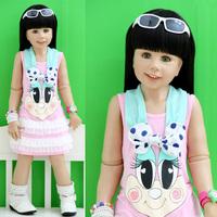 2013 baby summer children's clothing female child cartoon child vest one-piece dress