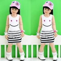 2013 baby summer children's clothing summer female child smiley child stripe tank dress one-piece dress