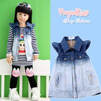 2013 children's clothing spring female child small butterfly sleeve gradient color child thin soft denim vest vest