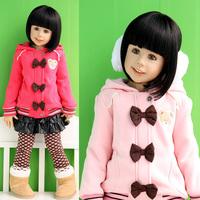 2013 baby winter children's clothing winter female child bow thickening berber fleece child outerwear wadded jacket