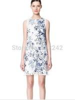 2014 summer fashion women Chinese style blue white porcelain print ink sleeveless loose chiffon vest dress free shipping xhf