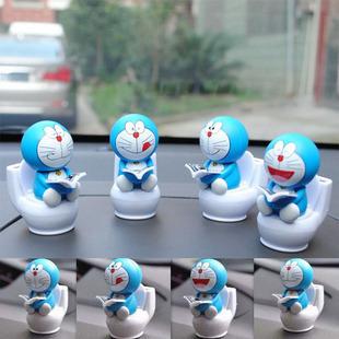 Mini toilet DORAEMON car accessories decoration solar doll a auto supplies