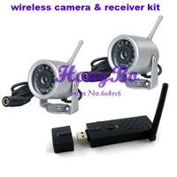 Free Shipping ! 2.4G 12IR lED 7m Night Vision Wireless IR 2pcs  Mini CCTV Camera+ 1pcs USB Wireless DVR