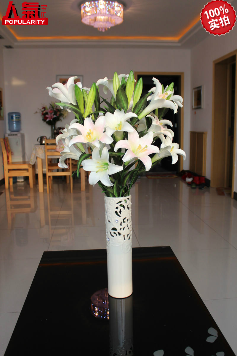 New arrival perfume lily artificial flower decoration flower French bowyer silk flower 5(China (Mainland))