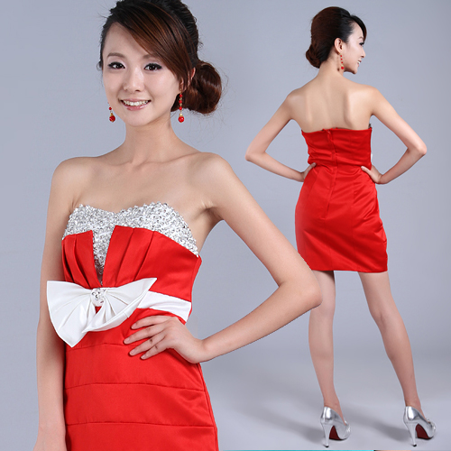 2013 tube top beading short design formal dress bride dress performance wear fashion formal dress bridesmaid dress(China (Mainland))
